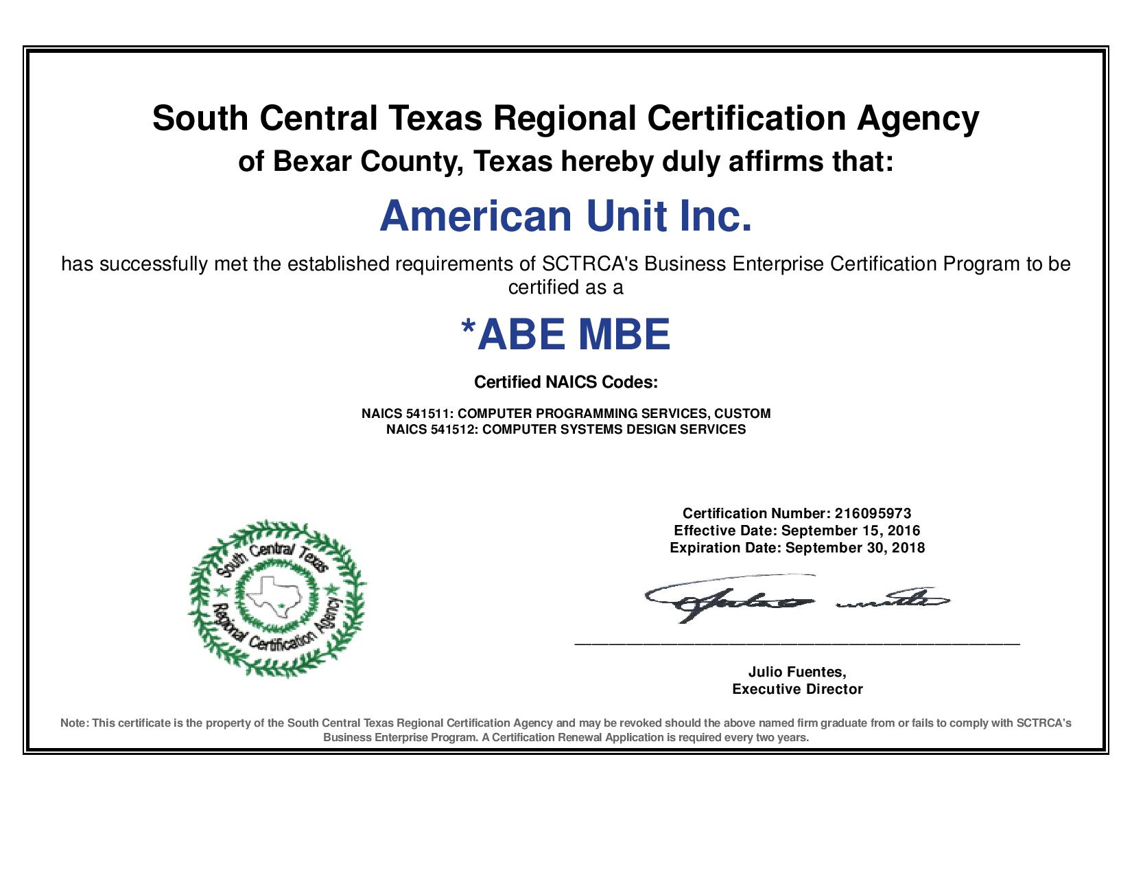 American unit services abe mbe certificate xflitez Gallery